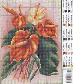 Схемы для вышивки: разные экзотические цветочки