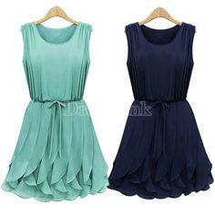 Women's Korean Flouncing Chiffon Sleeveless Pleated Slim Dress Sundress #Dresslink #fashion