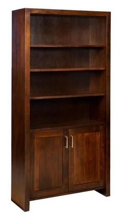 Amish Tempo Bookcase with Doors Contemporary style bookcase handcrafted in solid wood. Amish made in America. Luxury wood furniture for office. #woodfurniture #bookcases