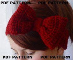 How cute!! PDF PATTERN. crochet bow headband earwarmer
