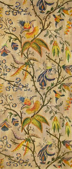 "Eltham Palace Details: A romantic design beautifully hand painted on gessoed linen. The ""a la Turque"" motif draws from exotic Ottoman designs that were fashionable in France and England in the early century."