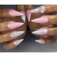 Nude pink and glitter ombré stiletto nails summer nail art design