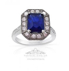 Beautiful ct natural emerald cut rich royal to vivid blue Ceylon sapphire set into custom made platinum & diamond ring carrying 82 round brilliant cut diamonds at carats with VS-si clarity G -H color , this sapphire carries the one of the highe Ceylon Sapphire Ring, Natural Sapphire Rings, Sapphire Wedding Rings, Platinum Diamond Rings, Diamond Cuts, Classic Engagement Rings, Ring Designs, Shop, Sapphire Wedding Bands