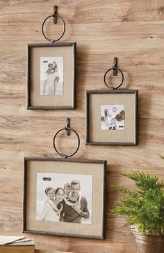 Iron Loop Frame - Display your holiday family photos in rustic iron hanging frames. Each frame features a glass insert and linen mat. Small: Square x Medium: x Large: x Hanging Picture Frames, Hanging Pictures, Picture Wall, Metal Picture Frames, Cadre Diy, Photo Displays, Farmhouse Decor, White Farmhouse, Living Room Decor