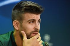 Gerard Pique of Barcelona speaks to the media during the FC Barcelona training session at Ciutat Esportiva Joan Gamper on October 18, 2016 in Barcelona, Catalonia.