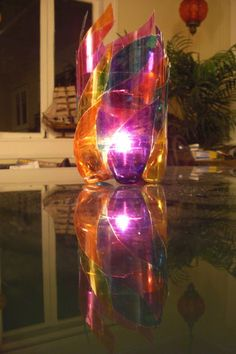 "Picture of Plastic Bottle ""Stained Glass"" Candleholder"