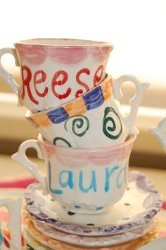 Prepare with names in advance...tea party favors - decorate their own teacups! maybe if the dollar store has something like this? @Jess Liu Ford