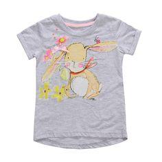 Sale 20% (8.39$) - 2015 New Little Maven Baby Girl Children Cute Rabbit Grey Cotton Short Sleeve T-shirt Top