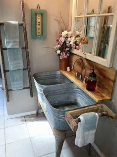 Farmhouse Bathroom Ideas - Rustic Bathroom Decor and Farmhouse Bathroom Storage Inspiration. 63724744 Blue And Yellow Bathroom Decor. Dont Forget The Bathroom When Home Decorating My Dream Home, Dream Homes, Dream Barn, Home Projects, Pallet Projects, Upcycling Projects, Repurposing, Sewing Projects, Rustic Decor