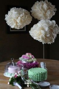 Dessert table with green buttercream cake. Poms poms by Harryali Vintage Inspired, Vintage Style, Vintage Fashion, Brooch Bouquets, Touch Of Gold, Buttercream Cake, Fresh Flowers, Dessert Table, Pastel Colors
