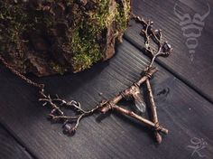Ancient forest shaman necklace, witching necklace, triangle branch necklace, witch jewelry, electroplated jewelry, copper necklace