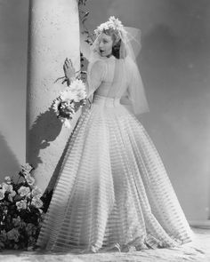 Actress Shirley Ross (playing Countess de Remi) wore a wedding dress designed by Edith Head in the 1939 Paramount comedy-musical. Movie Wedding Dresses, Wedding Dress Costume, Wedding Movies, Wedding Scene, Designer Wedding Dresses, Wedding Gowns, Wedding Bells, Bette Davis, Hollywood Glamour