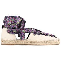 Balenciaga Balenciaga Lace-Up Espadrilles (€350) ❤ liked on Polyvore featuring shoes, sandals, colorful sandals, woven shoes, colorful shoes, floral espadrilles and lace up shoes
