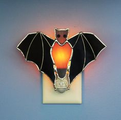 Stained Glass Black Bat Light Sensored Night by stainedglassturtle