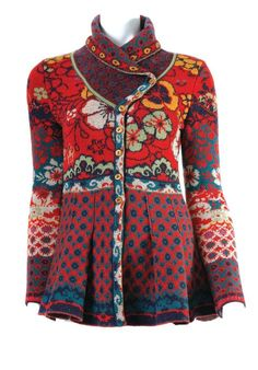 Ivko LARGE Jacquard Sweater Jacket - Shawl Collar - Flame Red