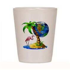 Flamingo Earth Palm Shot Glass > Flamingo Earth > DODGERFL PRODUCTIONS