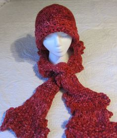 Knitted Scarf with Crochet Border and Crochet Hat by Kitkateden, $22.00