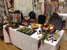 Our table at the chosen wedding fair with smoked salmon roulades, Moroccan chicken brochettes and mini quiches to sample #catering #london #wedding