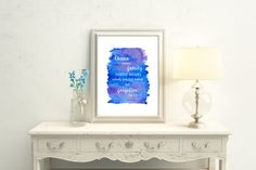 Watercolor Disney Print, Inspirational Quote Print, Ohana means Family, Lilo & Stitch Wall Art, Giclee Print, Blue and Purple, Nursery Art