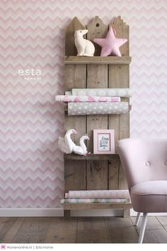 non-woven wallpaper zigzag collection Everybody Bonjour ESTAhome. Girl Nursery, Girl Room, Girls Bedroom, Chambre Nolan, Ideas Geniales, Diy Décoration, Kid Spaces, Kids Decor, Kids House