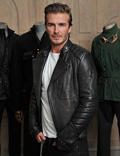 : David Beckham is one of People magazine& Sexiest Men of Men's Leather Jacket, Leather Men, Leather Jackets, Biker Leather, David Und Victoria Beckham, Urban Clothing Brands, David Beckham Style, Belstaff, People Magazine