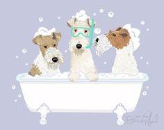 Wire Haired Fox Terrier in bath