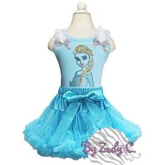 """Rhinestone """"Elsa"""" pettiskirt outfit $52  Sizes Nb up to 8 months   Contact us: byzulyc@hotmail.com/(646)546-7966    Twitter: @By Zuly C Instagram: byzulyc  Tumblr: byzulyc.tumblr.com Facebook: By Zuly C."""
