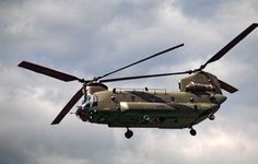 RAF Chinook helicopter giving a display at Farnborough