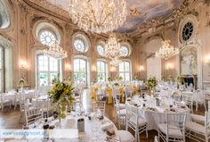 A serene wedding venue in Austria full of art and light and elegance. Wedding Celebration is the Definition of Magical. Wedding Set Up, Restaurant, Celebrity Weddings, Austria, Wedding Venues, Table Settings, Dining Table, Wedding Inspiration, Table Decorations