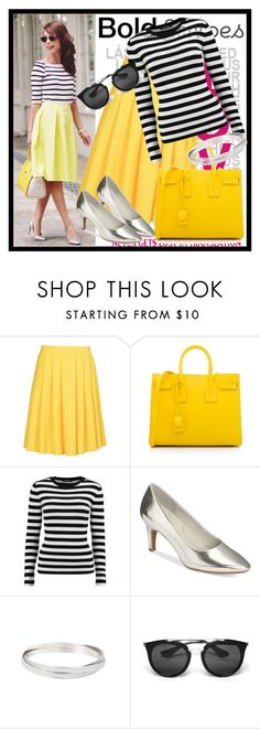 """""""420. Stripes"""" by diana97-i ❤ liked on Polyvore featuring 8, Yves Saint Laurent, Boohoo, Aerosoles, Prada, yellow, stripes, stripedtop and BoldStripes"""