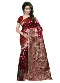Beautiful printed maroon colour banarasi silk saree
