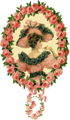Free Romantic Lady Floral Frame Images From The Graphics Fairy. Vintage Ephemera, Vintage Cards, Vintage Images, Vintage Photographs, Vintage Roses, Vintage Pink, Vintage Ladies, Vintage Woman, Graphics Fairy