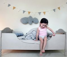 French grey kids bed. So cute