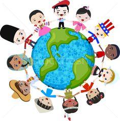 Foto stock: Crianças · planeta · terra · diversidade · menina · amor
