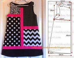 Plantillas de moda para la medida: Vestido de los cabritos 5/6 años - 2