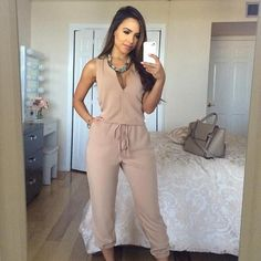 New 2019 Women Summer Sexy V Neck Jumpsuit Long Pants Solid Rompers Women's Sleeveless One Piece Bodysuit Jumpsuit Long Sleeve Playsuit, Long Romper, Rompers Women, Jumpsuits For Women, Fashion Jumpsuits, Fashion Pants, Fashion Outfits, One Piece Bodysuit, Long Jumpsuits