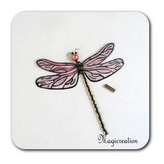 MAGNET LIBELLULE TRANSPARENTE ROSE-DEMOISELLE - Boutique www.magicreation.fr