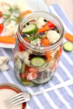 Easy Refrigerator Pickled Vegetables These tasty bites are destined to become a healthy refrigerator staple! Pickling is a great way to preserve and enjoy a surplus of summer vegetables, but it's an equally easy way to enjoy your veggies all year long… Veggie Dishes, Veggie Recipes, Healthy Recipes, Canned Vegetable Recipes, Side Dishes, Vegetarian Recipes, Dinner Recipes, Pickled Vegetables Recipe, Pickling Vegetables
