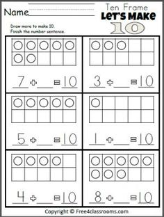 Free Let's Make 10 Addition Worksheet.