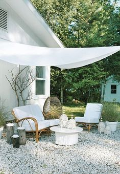 White outdoor lounge area