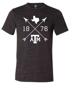 e86a71143f0 Texas A M Aggies Charcoal Black Triblend Crossed Arrows Short Sleeve T-Shirt