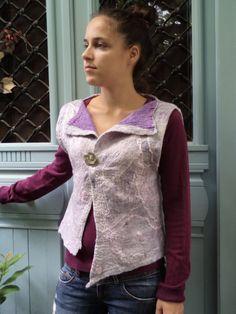 Nuno felted women's waistcoat / vest Mother of by SalkimiCreations