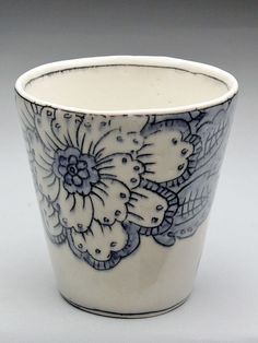 Molly Hatch Floral Pattern Porcelain Juice Cups at MudFire Gallery