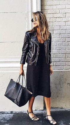 Love the leather jacket and black dress.