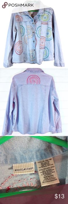 """Plus Size Embroidered Denim Top Size 16 EUC Beautiful embroidered denim top. Excellent condition! Decorative silver buttons. Tag size 16/18 (see pic) Bust 24"""" across flat. Length 26"""".  100% cotton.  🔹Please ask all your questions before you purchase!  🔹Sorry, no trades or holds. 🔹Please use Offer Button! 🔹Bundle for your best prices! White Stag Tops Button Down Shirts"""