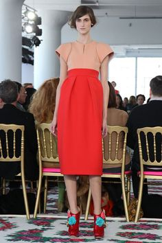 Delpozo RTW fall 2013 sculptural skirt and top in orange shades