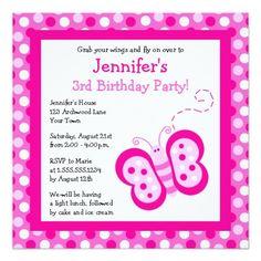 Shop Cute Purple Butterfly & Polka Dots Birthday Invite created by JKLDesigns. Polka Dot Birthday, Butterfly Birthday Party, Polka Dot Party, 3rd Birthday Parties, Birthday Party Invitations, Baby Shower Invitations, Polka Dots, Birthday Ideas, Orange Butterfly