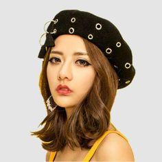 817cfa3dff7ea Fashion Metal ring beret hat with fringe for women autumn winter felt hats. French  Beret HatWool ...