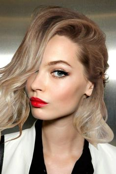 neutrals with a bright red pout