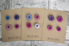 Purple and Pink Pretty Flower Magnets, Set of Four Polymer Clay Floral Magnets by AMclaycrafts on Etsy